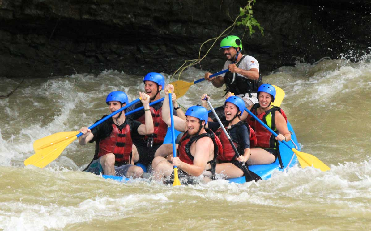 Family rafting experience while on Costa Rica adventure vacation.