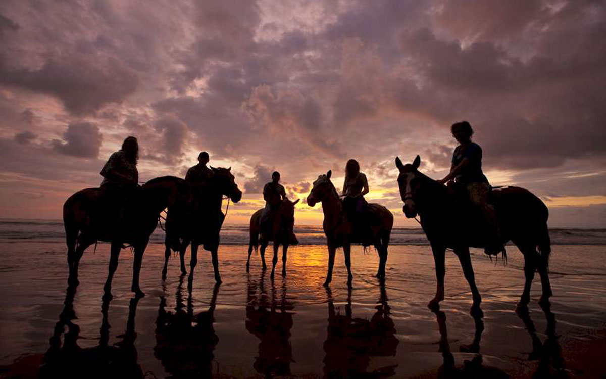 Horseback riding on the beach at our Costa Rica adventure resort.