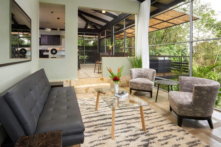 The living area of one of our luxury villas Costa Rica.