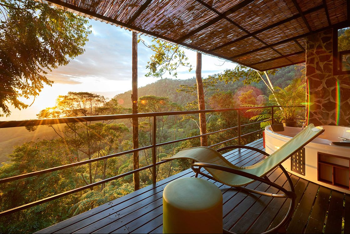 Sunset view from your treehouse hotel Costa Rica.