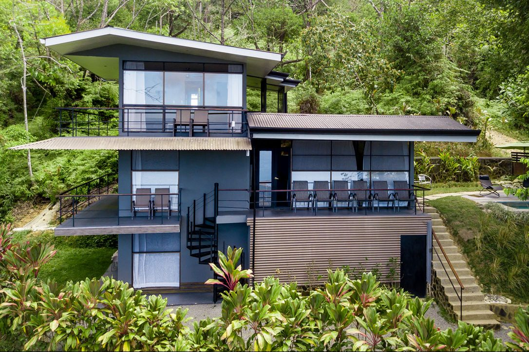 Aerial view of the Whale's Tail Costa Rica luxury villa.