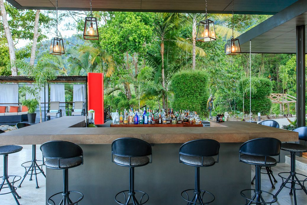 The cocktail bar at the Rancho Pacifico Costa Rica luxury resort.