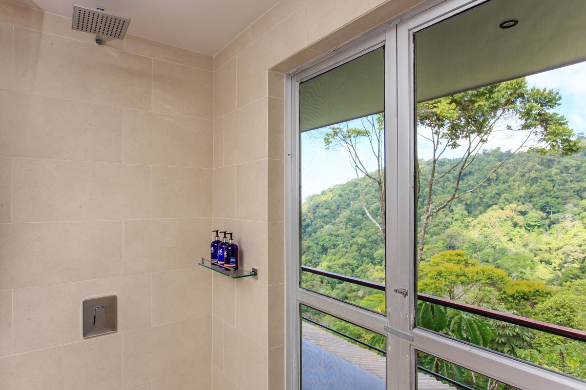 View from the shower of the Whale's Tail Costa Rica luxury villa.