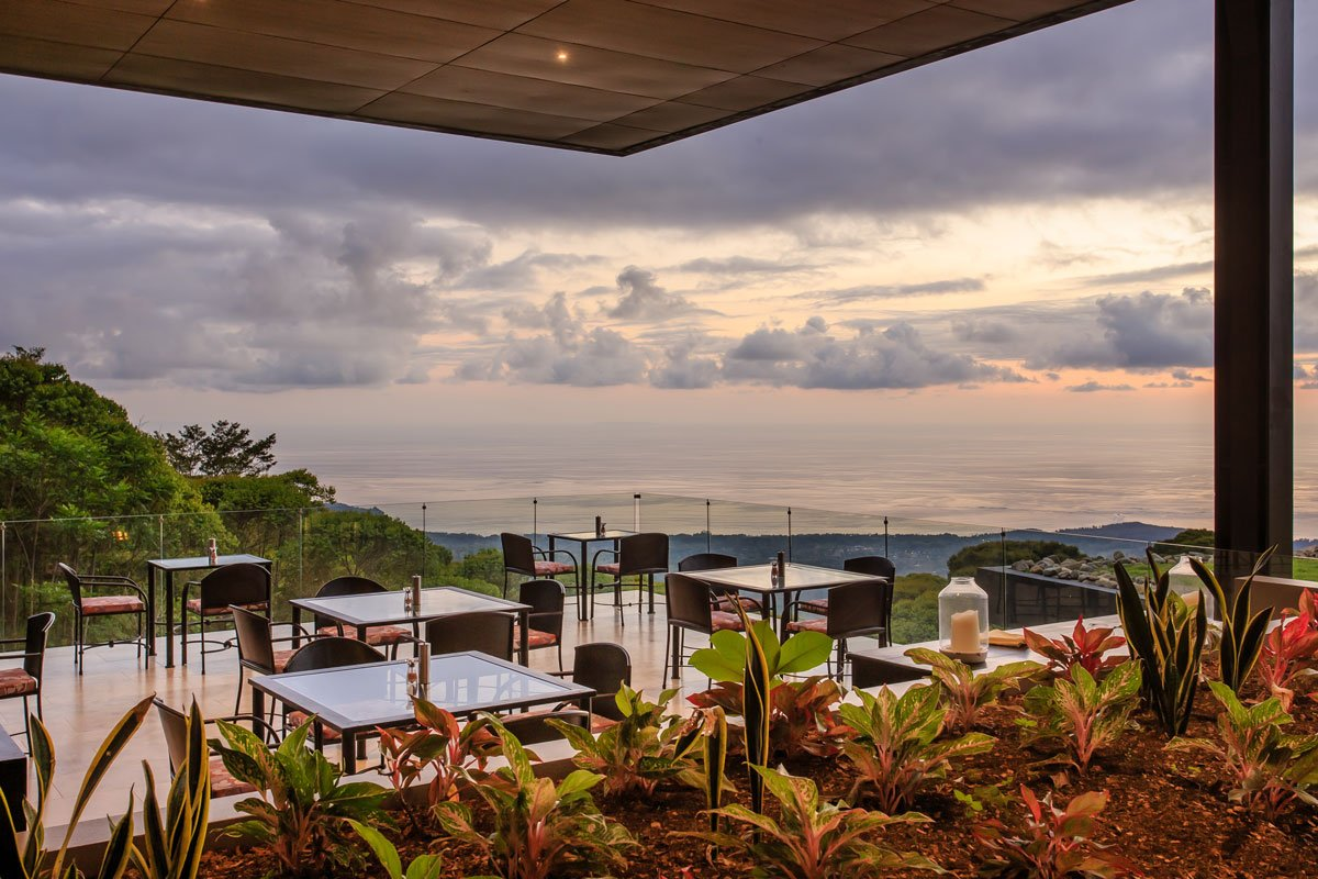 The dining room with Ocean views at the Rancho Pacifico Costa Rica luxury resort.