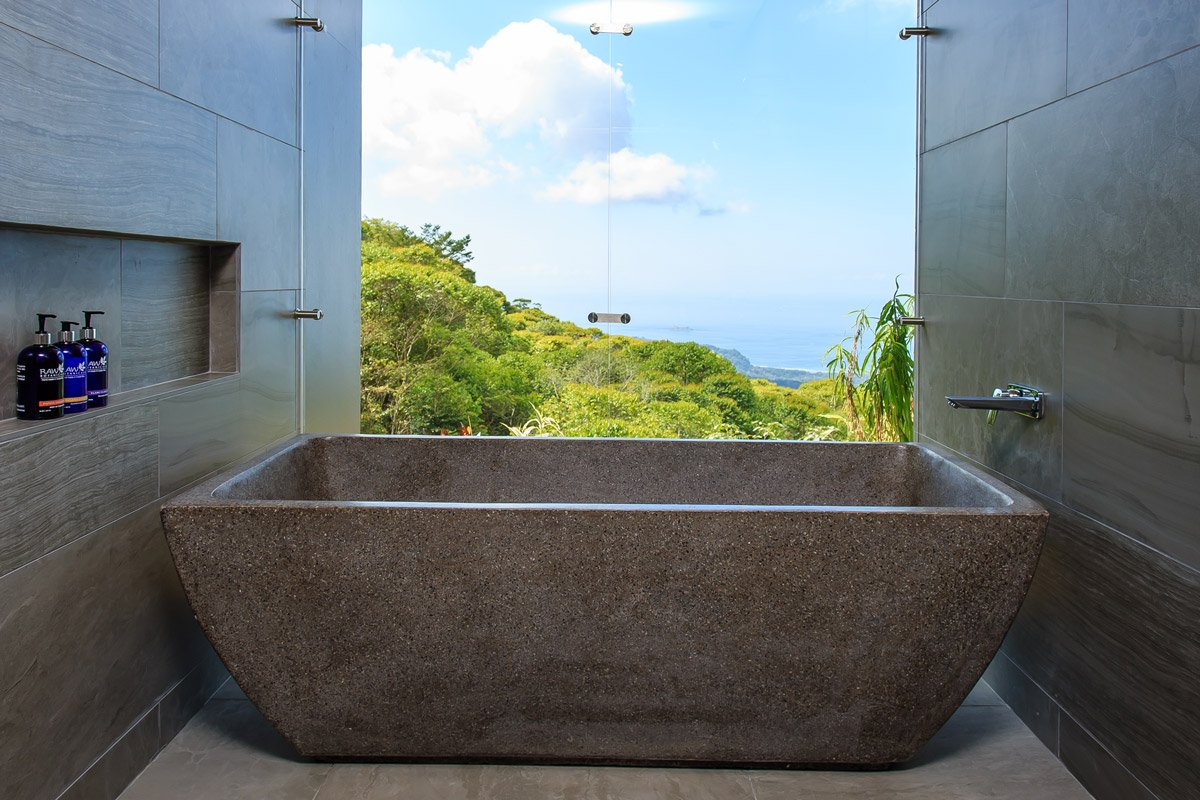 Soaking tub for two in one of our Costa Rica suites.