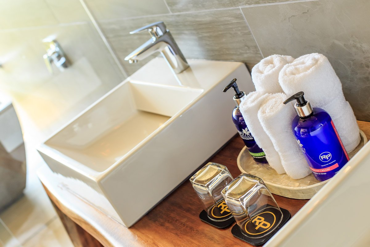 Bathroom details in your Costa Rica suite at Rancho Pacifico.